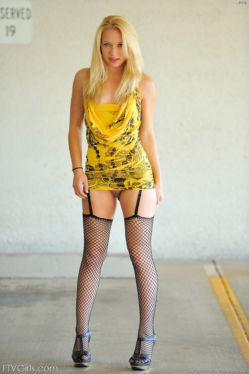 Alyssa Branch Amateur Blonde in Fishnet Stockings