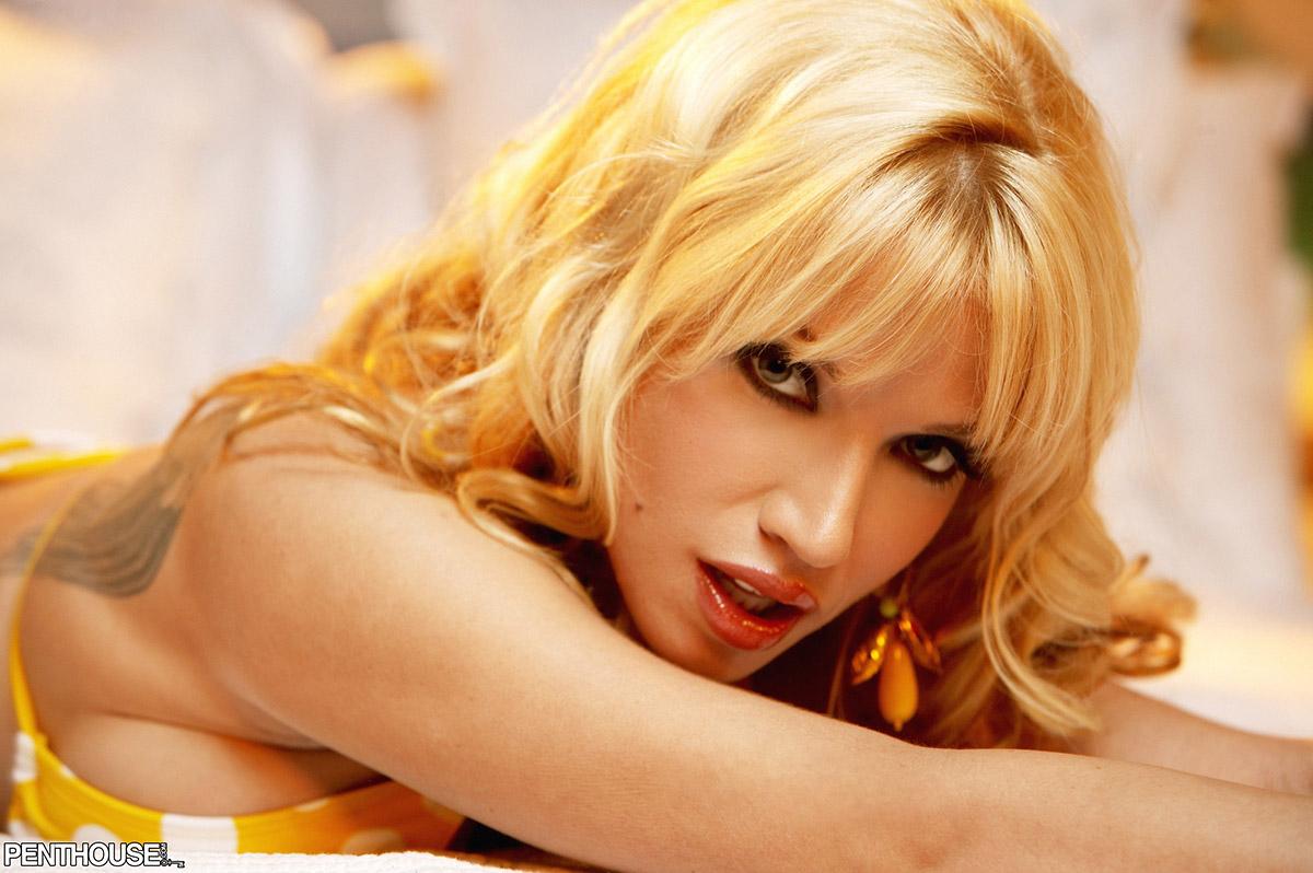 Angie Savage Flirty Blonde Teases in Yellow Polka Dot Bikini