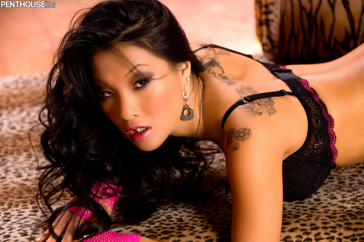 Asa Akira Japanese Beauty Spreads in Lingerie and Stockings