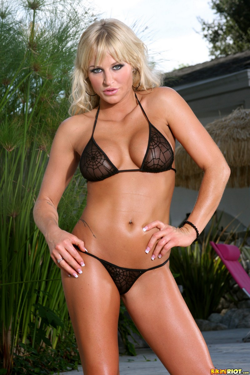 Brooke Belle in Daring Sheer Black Spider Web G-string