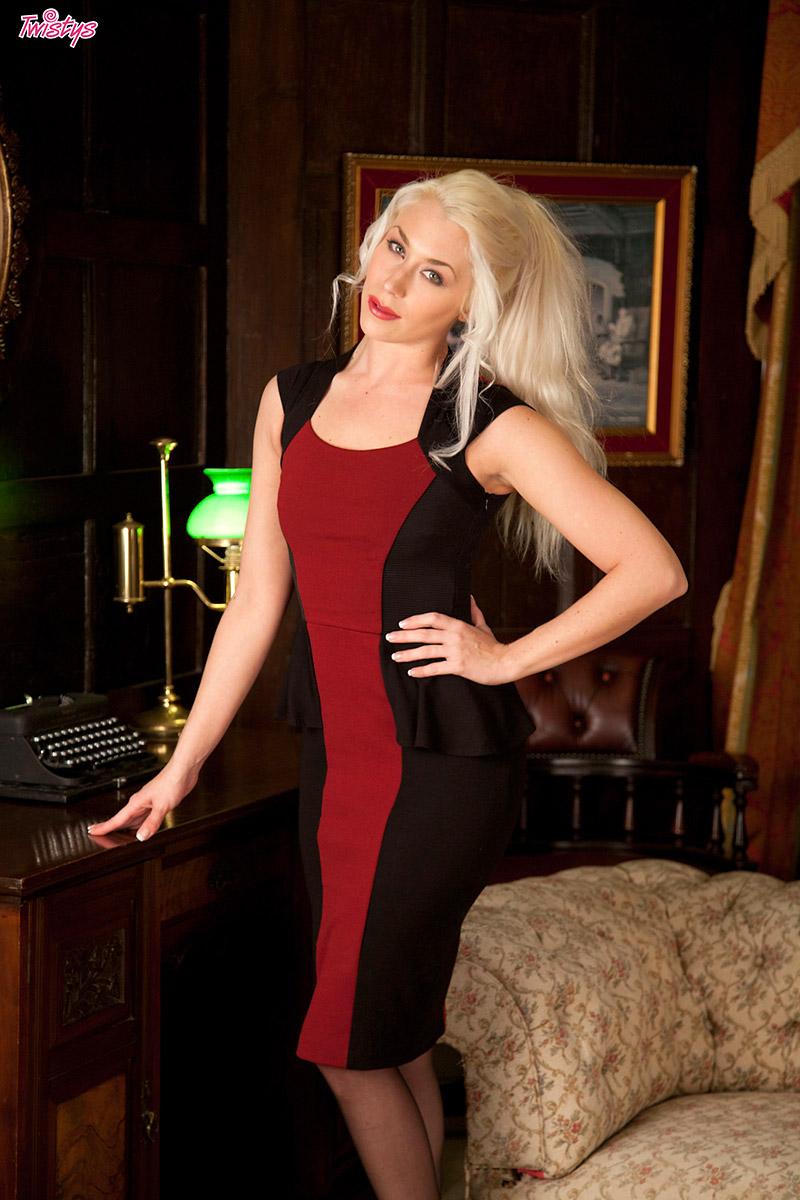 Charlotte Elizabeth Hot Blonde MILF Strips Red Dress