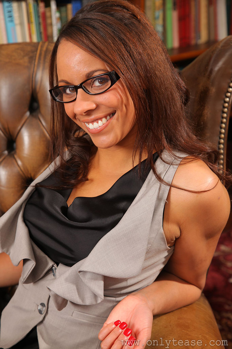 Emilia Sayers Sexy Ebony Executive Strips Business Suit