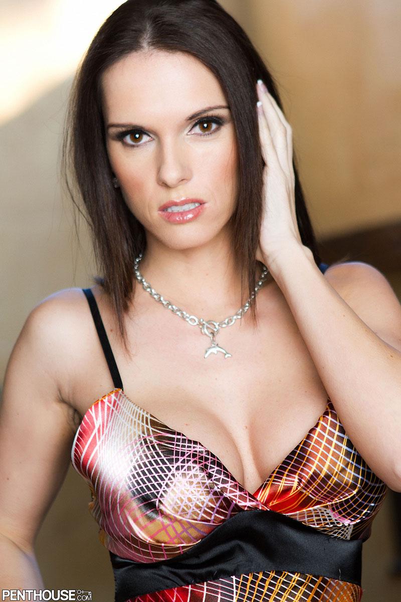 Jennifer Dark Busty Czech Pornstar Loses Silk Dress