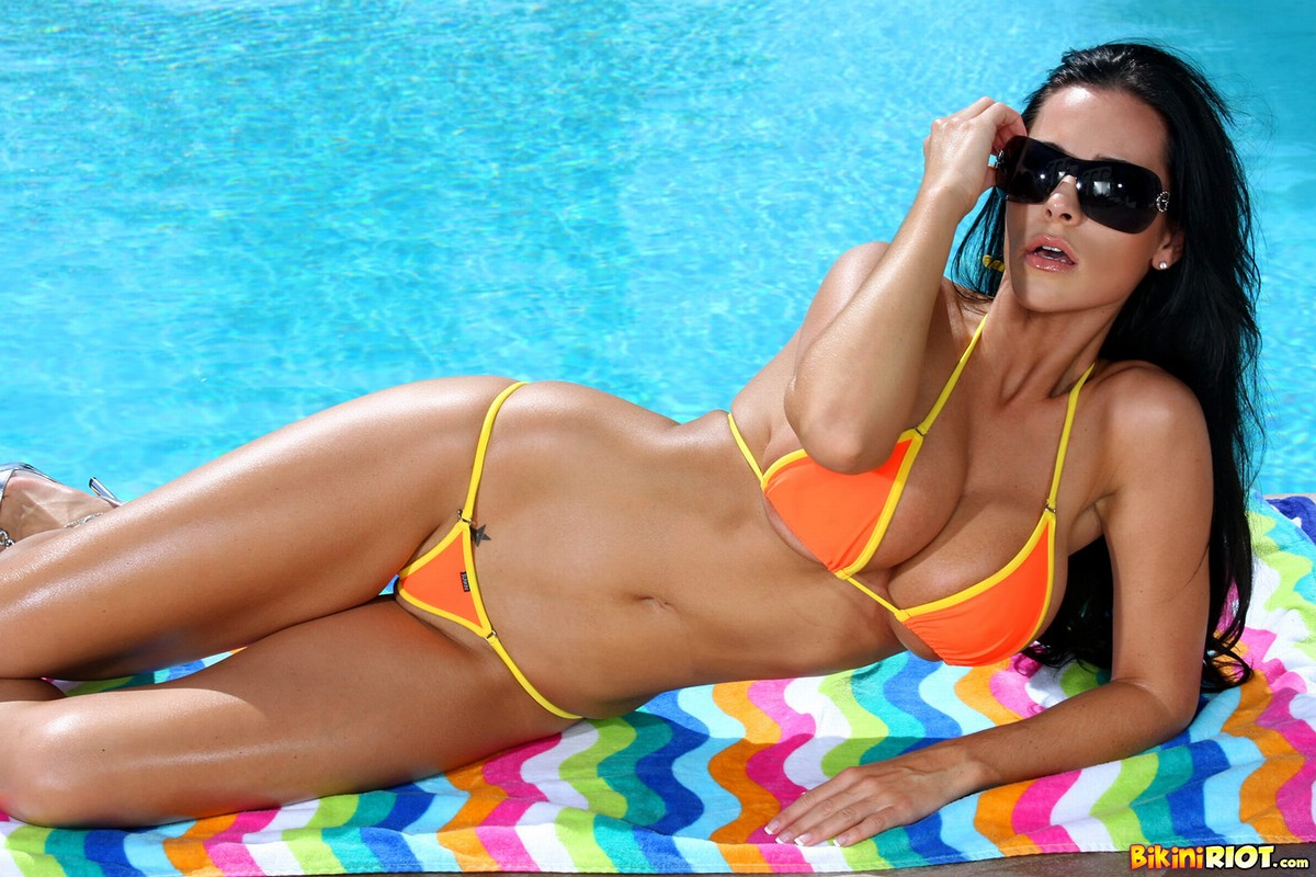 Laura Lee Strips Sizzling Hot Orange Thong by Pool