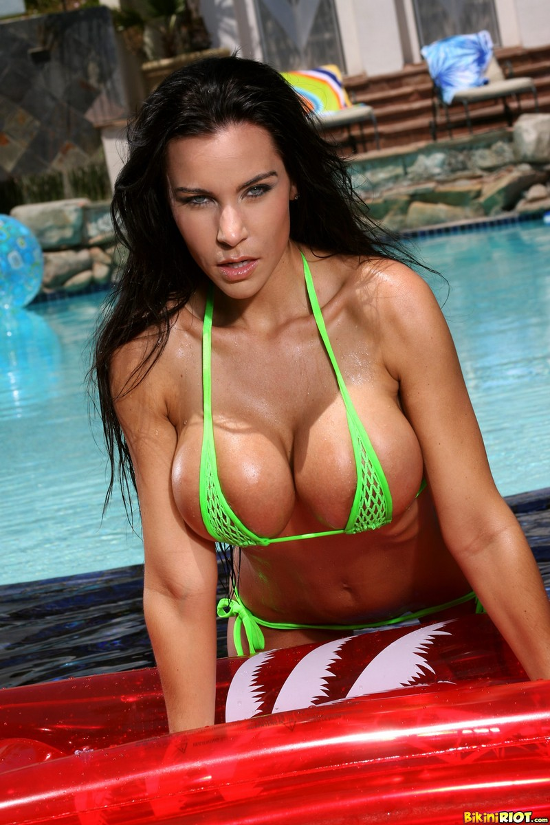 Laura Lee Wet All Over in Green Fishnet Bikini