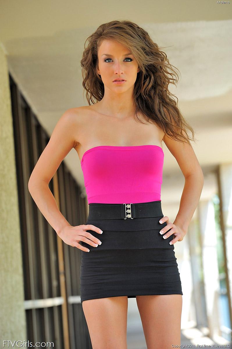 Malena Morgan Petite Brunette Amateur Babe in Heels