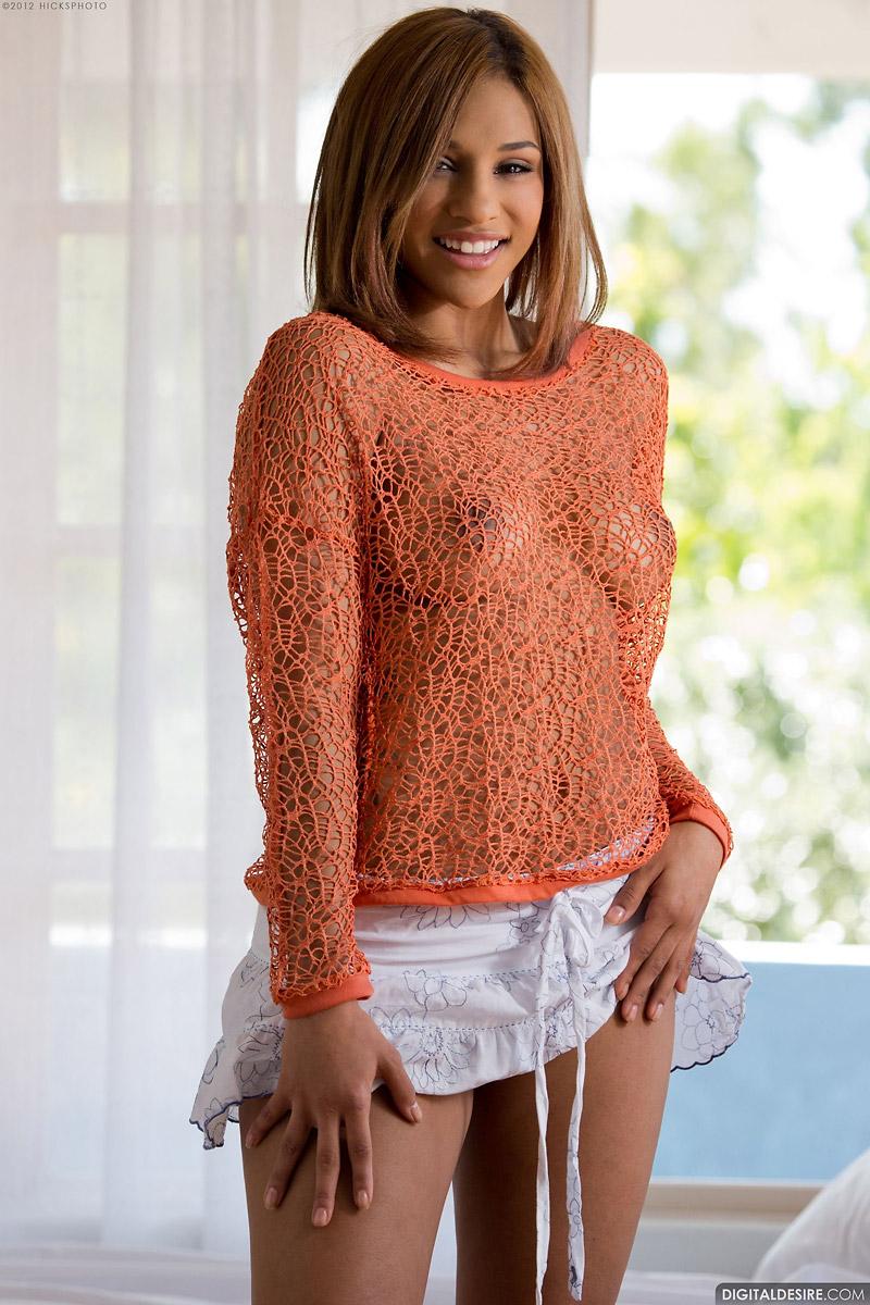 Naja Irie Frees Large Ebony Breasts from Net Top