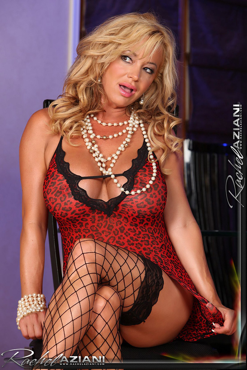 Rachel Aziani Busty MILF in Fishnets Bares Big Boobs