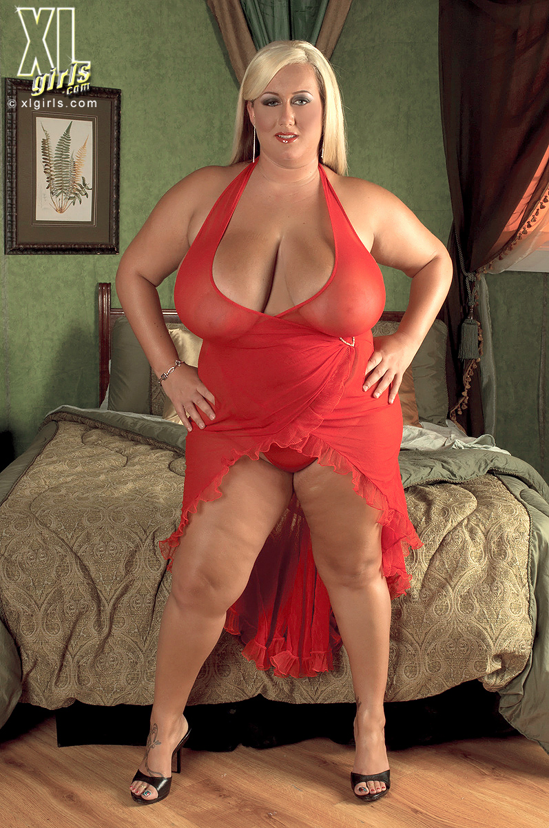 Rose Valentina Sexy Blonde BBW in a Red Dress