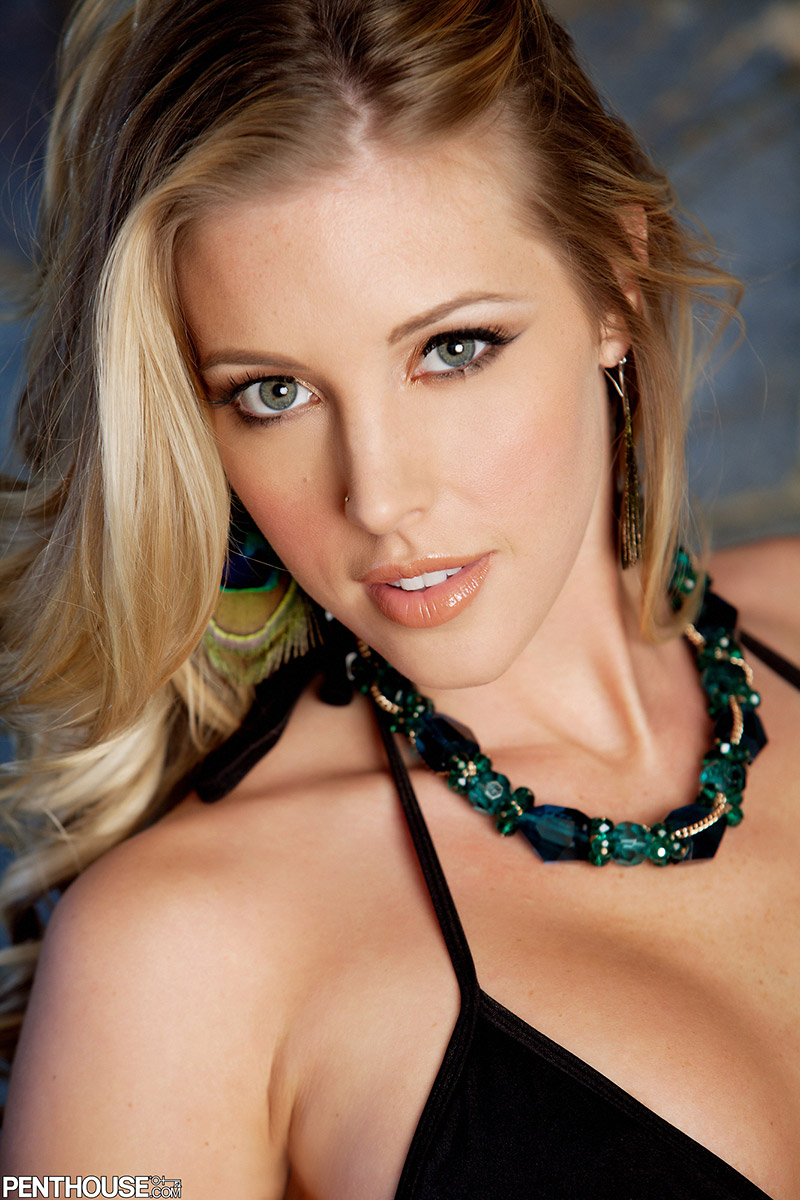 Samantha Saint October Penthouse Pet Drops Black Bikini