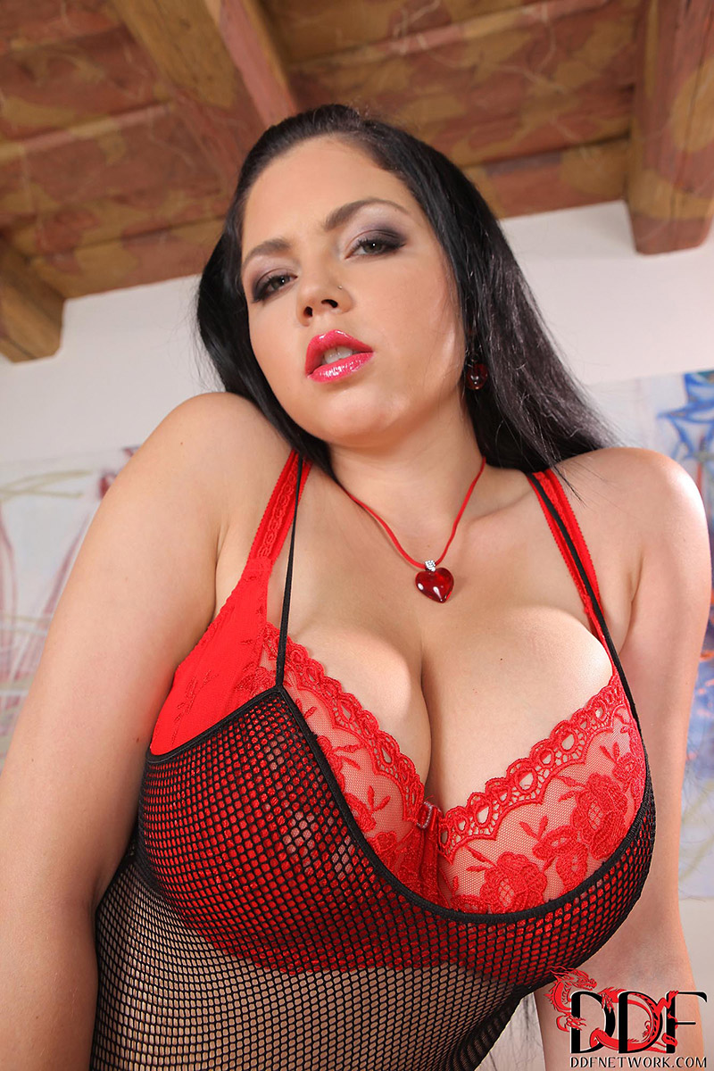 Shione Cooper Bares Huge Natural Boobs from Red Lingerie