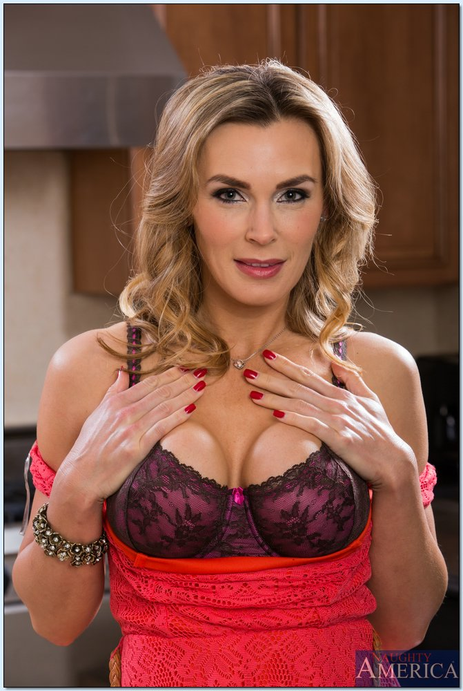 Tanya Tate Hot British MILF Strips Lingerie in the Kitchen
