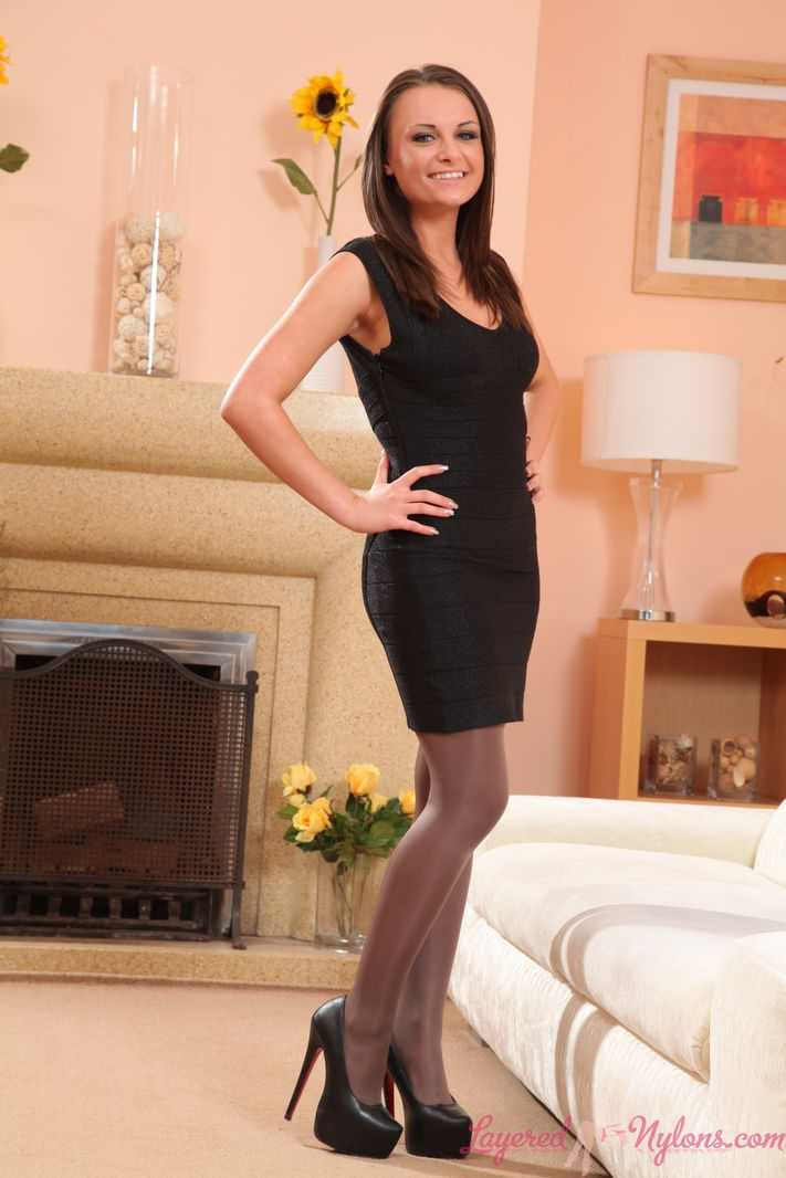 Leggy sexy Siobhan in layered nylons