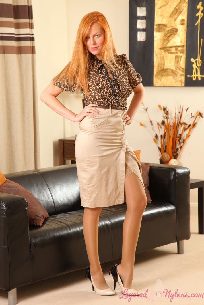 Stunning redhead Monika the layered nylon secretary